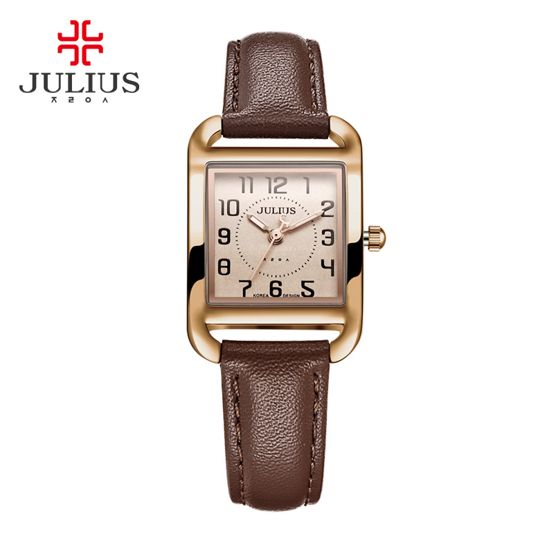 New Julius Lady Women's Watch Japan Quartz Hours Fashion Dress Square Leather Bracelet Girl Christmas Birthday Cute Gift Box top julius lady women s watch japan quartz elegant rhinestone large number fashion hours dress bracelet leather big girl gift