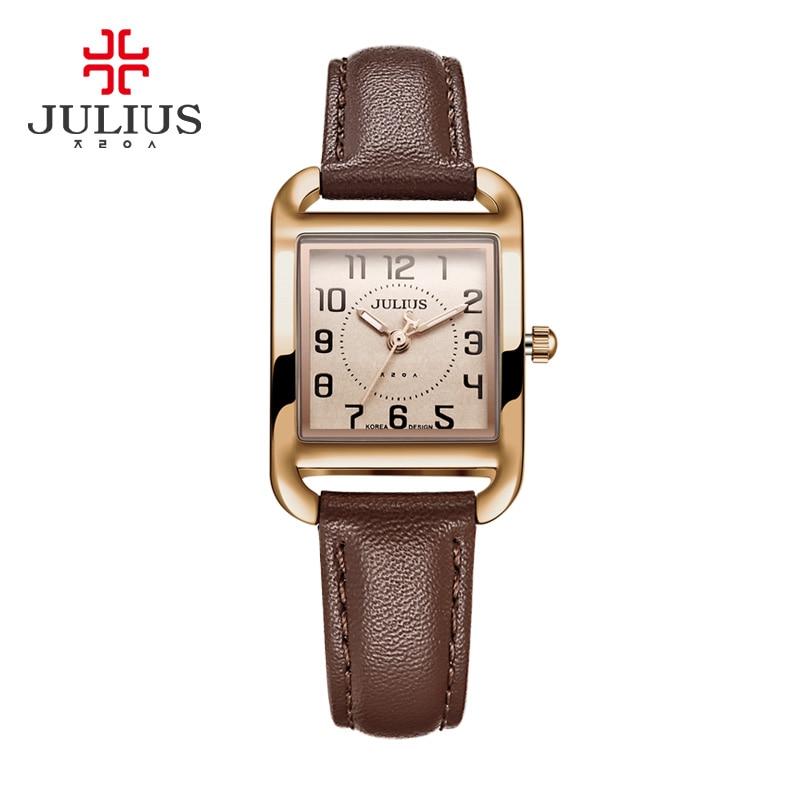 New Julius Lady Women's Watch Japan Quartz Hours Fashion Dress Square Leather Bracelet Girl Christmas Birthday Cute Gift