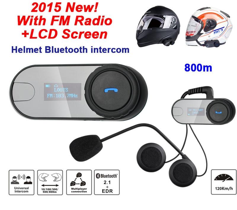 Le plus récent casque d'interphone de casque de moto + Radio FM + écran Visible LCD TOM-SC