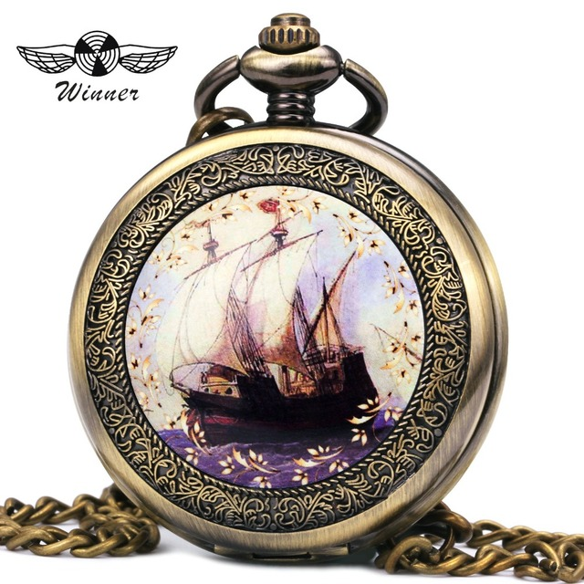 WINNER Fashion Vintage Unisex Pocket Watch Mechanical Skeleton Dial Ancient Sail