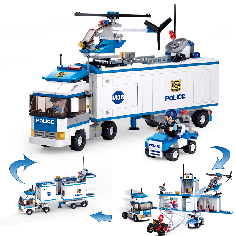 Models building toy 0376 572Pcs 2in1 City Mobile Police Station Car Truck Helicopter Building Blocks   toys