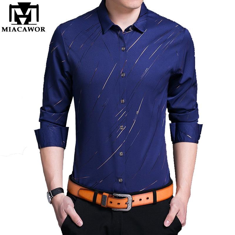 MIACAWOR 2019 Spring Men Shirt Fashion Print Social Shirt Slim Fit Full Sleeve Camisa Masculina Casual Men Clothes C414
