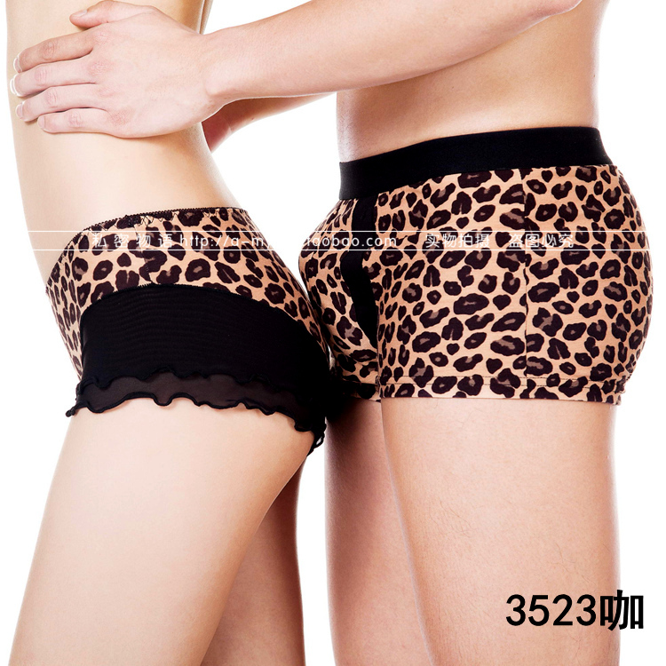 2017 New Hot 1 Set 2pcs Cotton Men S Boxer Lady S Briefs Underwear LEOPARD LACE