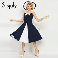 Sisjuly Women Vintage Dress 1960s Nautical Style Patchwork Summer Retro Dress Navy Bowknot Sailor Collar Female