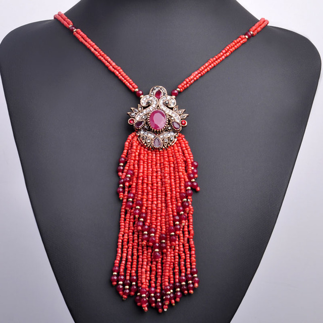 Africa Tassel Bead Long Pendant Necklace Women Turkish Antique Gold Resin Ethnic Red Green Sweater Dress Choker Indian Bijoux