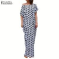 ZANZEA Women Overszied Short Sleeve Round Neck Polka Dot Long Maxi Dress Loose Casual Summer Evening Party Kaftan Vestido
