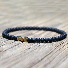 Antique 4 mm noir obsidienne Bracelet Simple Yoga prière perles Mala Braslet pour Homme brassard bijoux Homme Pulseira