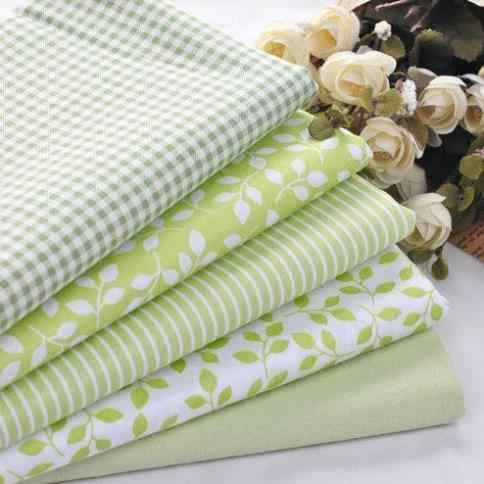 Tela de algodón para 100% de libros, 5 uds. De cuadros verdes a rayas florales para coser Patchwork, BILLETERA, monedero, ropa de cama de muñeca, tela de 40cm * 50cm
