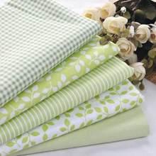 Twill 5 pcs Green Plaid Stripe Floral 100% Cotton Fabric For Sewing Patchwork Wallet Purse Doll Bedding Fabric 40cm*50cm(China)