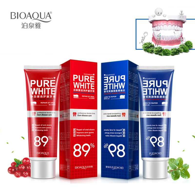 2Pcs/Lot BIOAQUA Herbal Mint +Cranberry Fresh Toothpaste Whitening Remove Yellow Stains Halitosis Reduce Gingivitis Clean Dental image