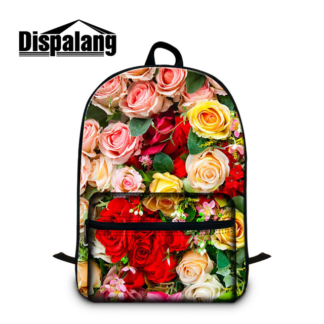 Dispalang colorful rose 3D printing women s stylish travel backpack high  quality canvas mochila for 14 inch 1d886d94e5a6c
