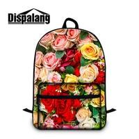 Dispalang kolorowe rose 3d druku damska stylowy podróży plecak wysokiej jakości płótno mochila dla 14 cal notebook laptop torby