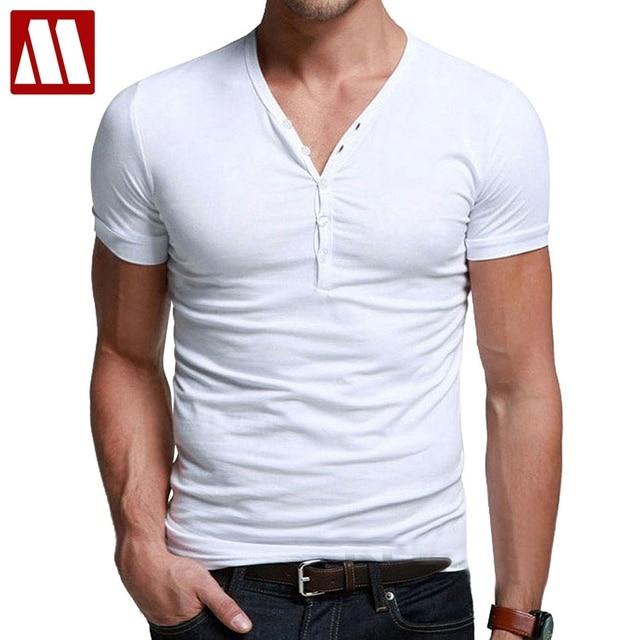 US  9.88 49% OFF Männer engen t shirts sommer baumwolle T shirt Mann  kausalen unterhemden Schlank fit V ausschnitt taste kragen kurzarm t shirt  ... 8cd567ccba