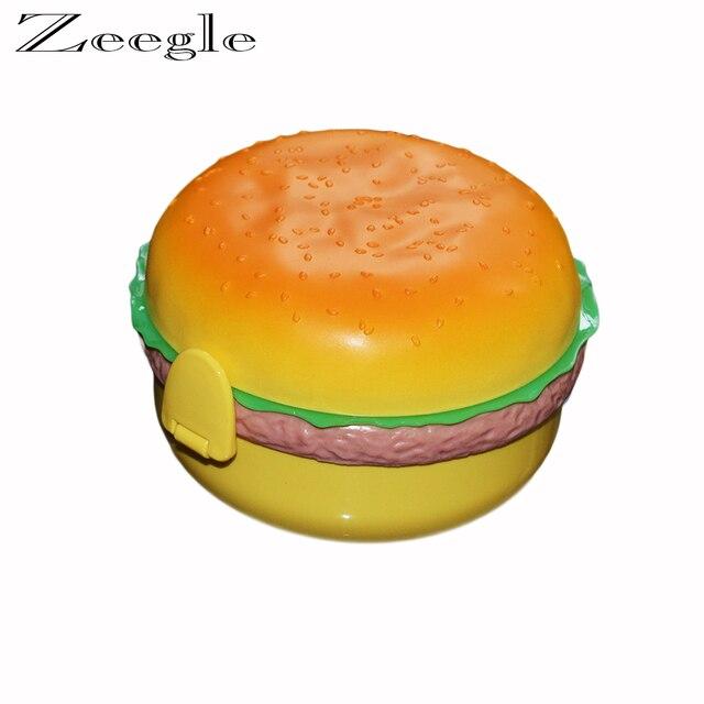 Hamburger Shaped Double Layer Baby Food Storage Box Kids plastic box