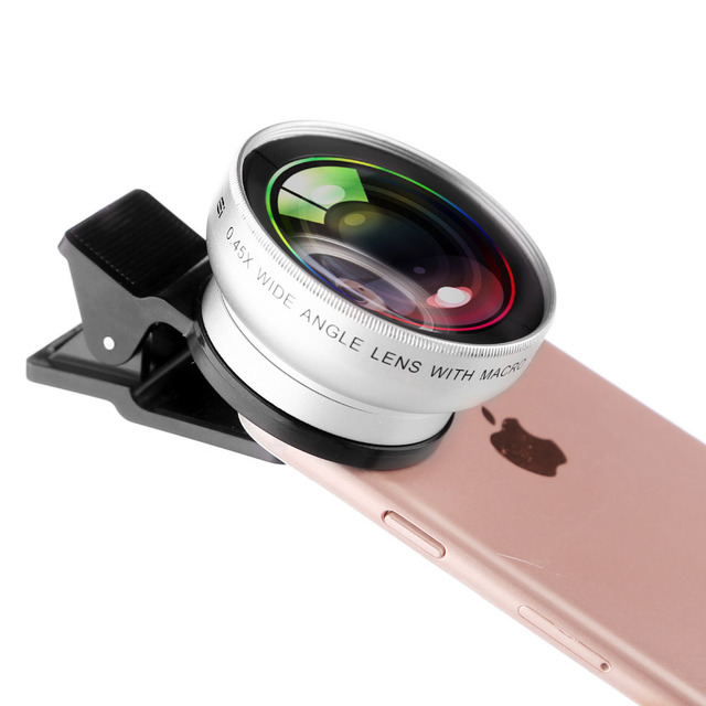 ZOMEI Universal 0.45X Wide Angle+12.5X Macro kit Camera Lens 2 in 1 kits for iPhone for Huawei for Samsung Smartphone Tables