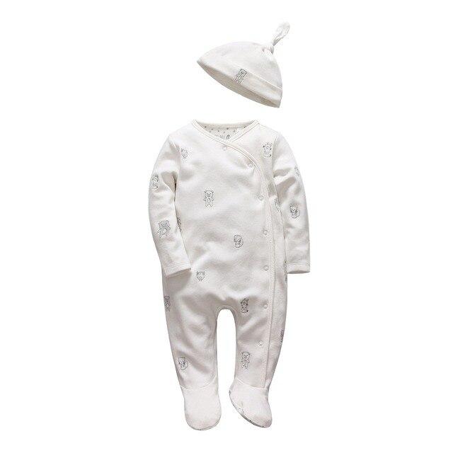 Девочка комбинезон с длинным рукавом infantil новорожденных детская одежда белый хлопок младенческой комбинезон с hat