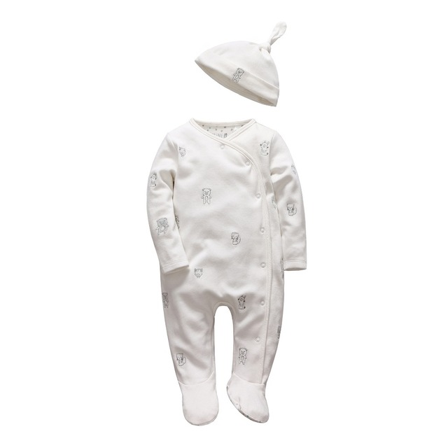 Tender Babies girl Boys rompers Soft long sleeve Cartoon Animal infantil newborn baby clothes white cotton infant jumpsuit + Hat