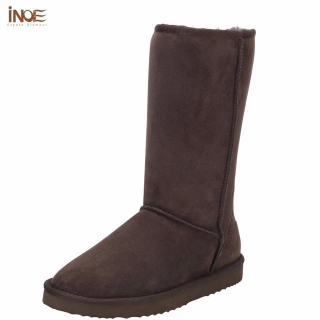 INOE camurça couro de alta botas de neve para as mulheres sapatos de inverno pele de carneiro alinhado pele meninas grandes lã alto da coxa botas de inverno marrom preto