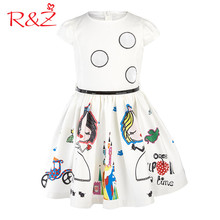 R&Z Summer 2017 Baby Girl Dress with Sashes Robe Fille Character Princess Sleeveless Dress Children Clothing Kids Clothes