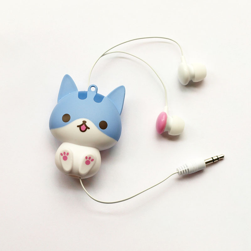 Kawaii Cat Dog Cartoon Retractable Flexible Earphone for MP3 MP4 Girl backpack Decor elastic auriculares koptelefoon earphones cute cartoon cat claw style in ear earphones for mp3 mp4 more blue white 3 5mm plug