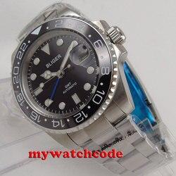 40mm Bliger czarna tarcza ceramiczna niebieska GMT ręcznie szafirowe szkło automatyczny męski zegarek B177