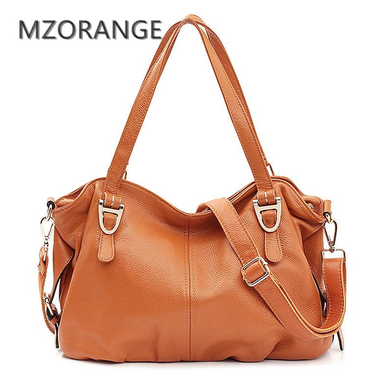 MZORANGE Fashion Casual Tote Cow Genuine Leather Women HandBags Shoulder Bag Brand High capacity Lady bag Hobos Crossbody Bags fashion women genuine leather handbags large capacity tote bag oil wax leather shoulder bag crossbody bags for women