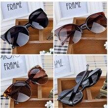 JAXIN Women Sunglasses Half Frame Cat Eye Brand Designer Glasses Mirror Fashion Retro Round Eyewear Female