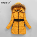 2015 Winter Long Hooded Jacket Women Coat Fur Collar Outerwear Elastic Sashes Cotton-Padded Solid Cotton Coat Jacket XXXXL Z107