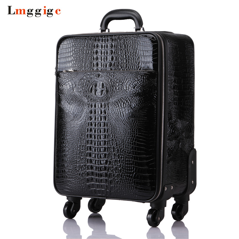 Crocodile pattern Rolling Luggage bag,High quality Travel Suitcase,Trolley Case Valise with Wheel,Universal Wheel Box,Carry-On car trunk storage box folding suitcase with wheel portable new top quality travel trolley carts 3 colors daily usage