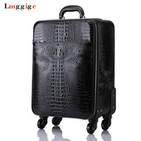 Crocodile pattern Rolling Luggage bag,High quality Travel Suitcase,Trolley Case Valise with Wheel,Universal Wheel Box,Carry On
