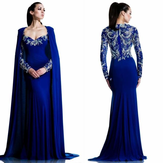 luxury royal blue evening dresses wrap 2016 mermaid sweetheart