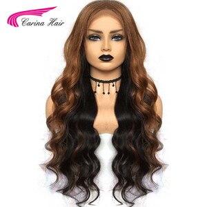 Image 2 - Pelucas de cabello humano brasileño Carina con encaje frontal pre desplumado Ombre 1b/33 pelo Remy ondulado con reflejos y luces bajas