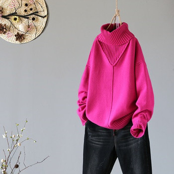 Winter New Turtleneck Women Sweaters And Pullovers Hot Pink Loose Thicken Warm Lady Pulls All Match Outwear Coat Tops 8