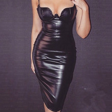 HOT 8 Colors Hot Celebrity Kim kardashian Knee Length Black Leather Dress Sexy Party Tight Dress