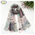 1 UNID 180*100 CM 2016 Otoño Nuevo Diseño de la Flor de Algodón Viscosa de las Mujeres de Las Borlas Bufanda Mujer Nuevo Diseño de Gasa borlas Pashminas