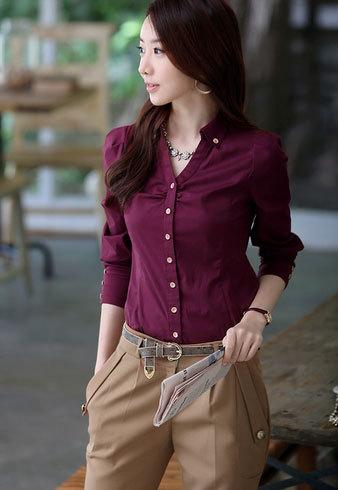 Buy new 2016 solid burgundy office women for Burgundy long sleeve t shirt womens
