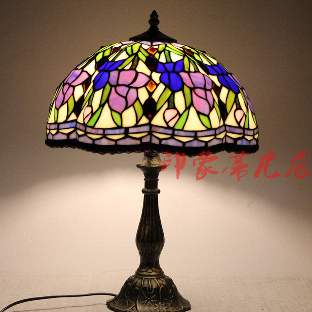 2016 Time-limited Promotion Lampara Led Escritorio Luminaria De Mesa Lamp Ofhead Fashion Rustic Rose Multicolour Glass Lighting