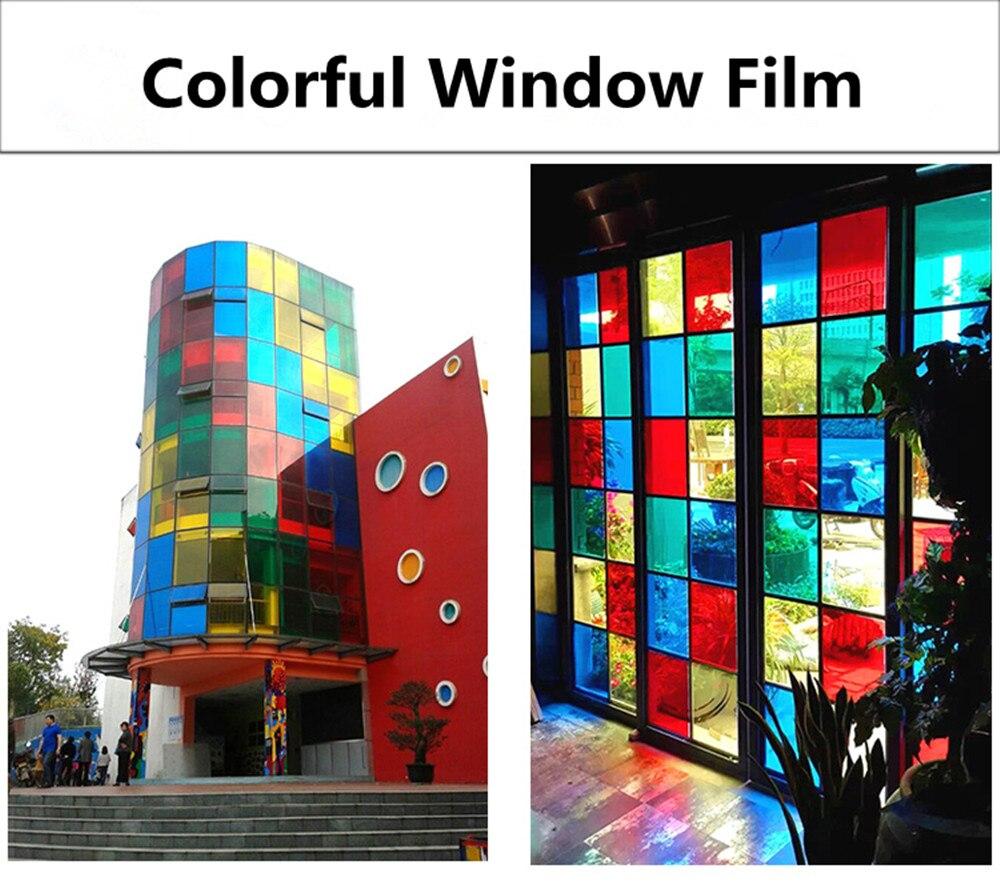 1 m x 10 m De Couleur verre décoratif PET film d'isolation de film solaire preuve membrane Party Decor transparent fenêtre autocollants nouveau