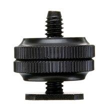 """Mayitr Pro 1/"""" двойной гайки винт с резьбой для крепления на штативе черный для вспышки Горячий башмак адаптер для камеры студийный аксессуар"""
