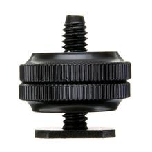 "Mayitr Pro 1/4"" Dual Nuts Tripod Mount Screw Black To Flash Hot Shoe Adapter For Camera Studio Accessory"