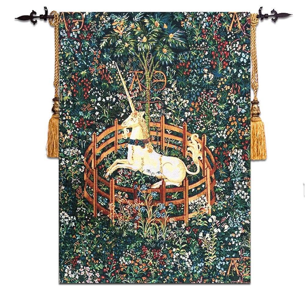 58*80 cm Belgien Wandbehang Tapisserie paintin Stoff Marokkanischen Decor Gobelin Wand Tuch wandbild Medieval Einhorn Design