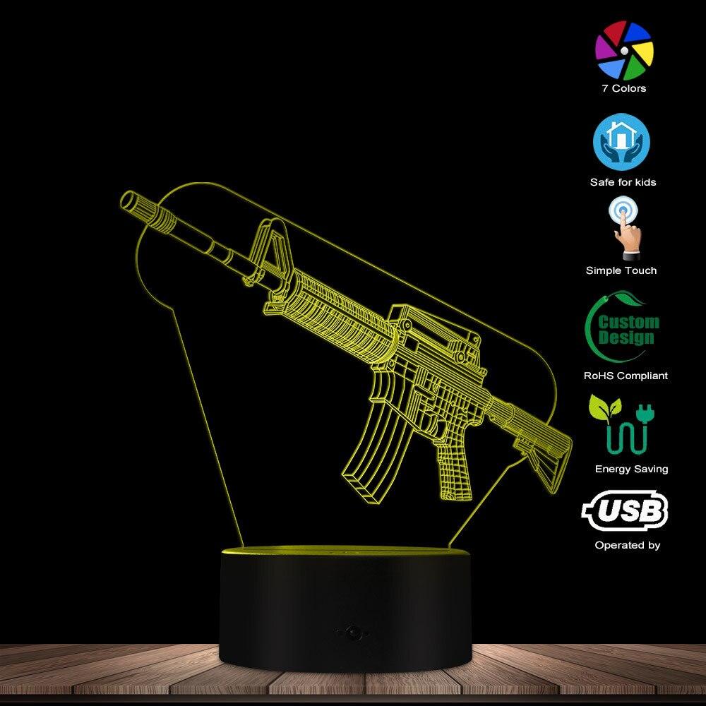 Image 3 - Optical illusion Table Lamp Machine Gun Design 3D Acrylic Lights Military Weapon AK Gun Night Light Gift for Gun EnthusiastsNovelty Lighting   -