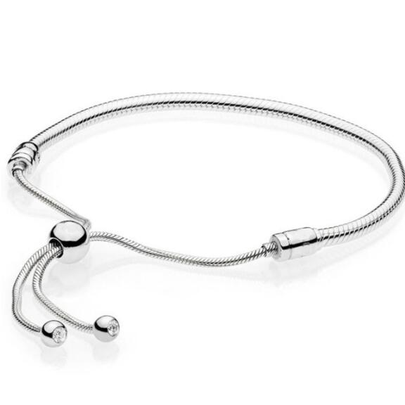 Authentic 925 Sterling Silver Moments Sliding Clasp Adjust Pandora Bracelet Bangle Fit Women Bead Charm Diy Europe Jewelry