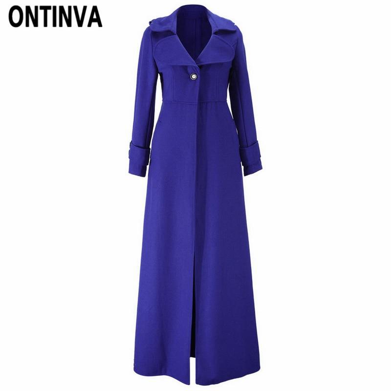 Fashion Slim Women Extra Long Woolen Coats Green Blue Ladies Chic Trench Coat Fall Winter Button