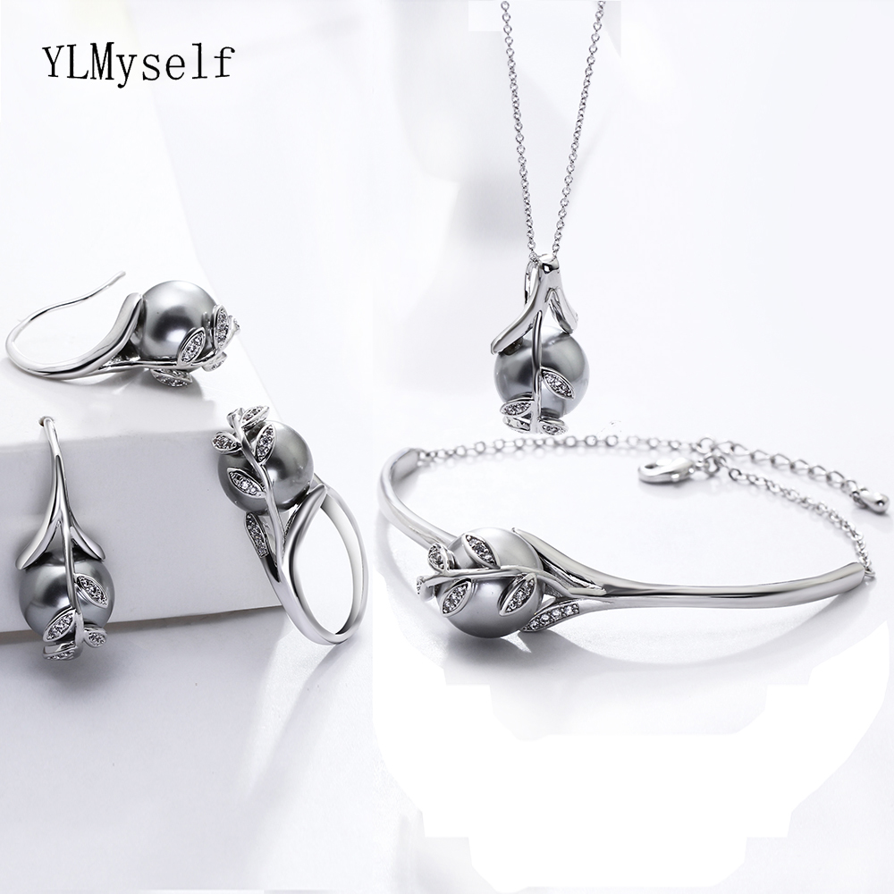 silver plate jewelry sets pearl (1)