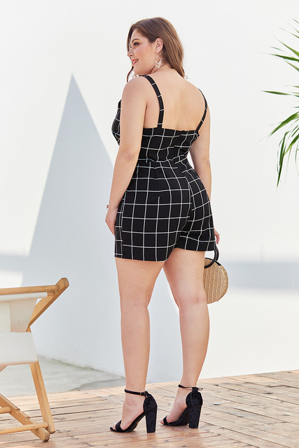 4XL Women's Sling Jumpsuit black and white plaid Plus Size Waist Backless Sexy Jumpsuit Summer Rompers Casual Playsuit 2019 New 4