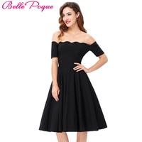 Moda Vestiti Da Partito Delle Donne Cotone Nero Sexy Spalle Vestito Da Estate Autunno Rockabilly Pinup Wiggle 50 s Vintage Dress Vestido