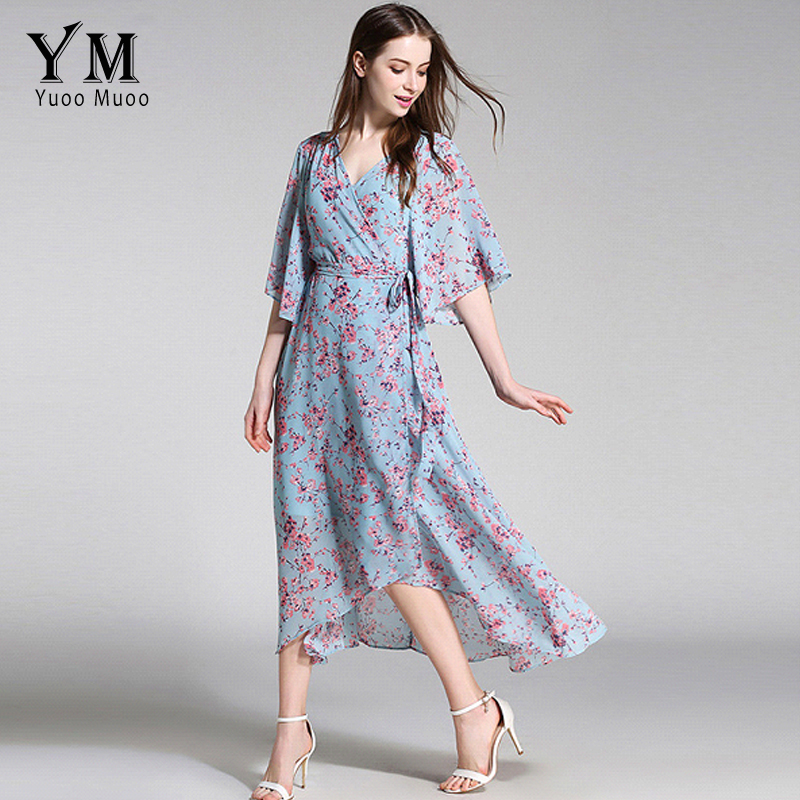 7fde8257096b3 US $22.59 40% OFF|YuooMuoo New European Fashion V neck Long Bohemian Dress  Romantic Floral Print Light Blue Summer Dress Women Chiffon Maxi Dress-in  ...