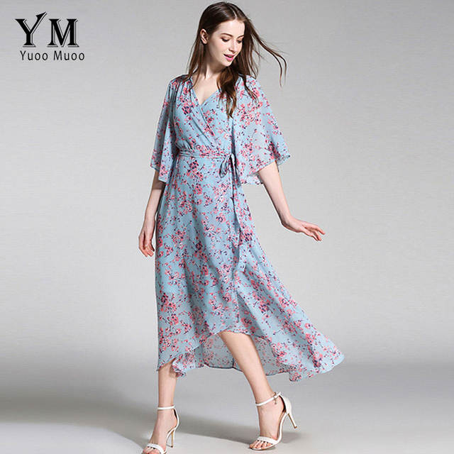 69439c25cbd YuooMuoo New European Fashion V-neck Long Bohemian Dress Romantic Floral Print  Light Blue Summer