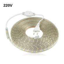 5M 10M 15M 20M 25M LED Strip AC220V 5050 Waterproof LED light tape 60LEDs/M Outdoor/ Indoor lighting With EU Power Plug Adapter(China)